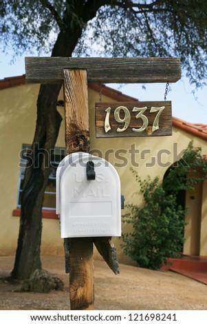 White mailboxes in Tucson. USA. - stock photo