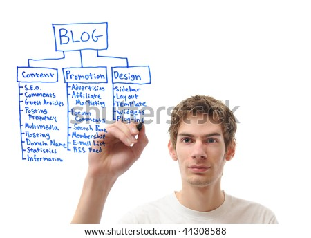 White male caucasian young adult writing out his plan for his blog with a marker isolated on white background. - stock photo