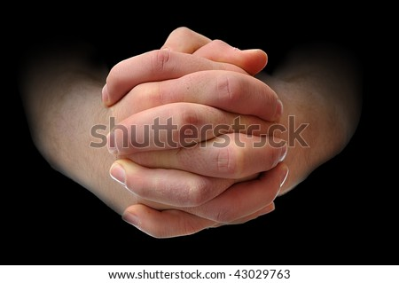 White males hands interlocking his fingers. - stock photo