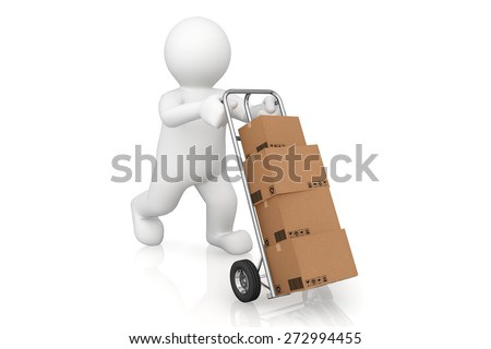 White man and hand truck with cardboard box with clipping path. Cargo, delivery and transportation logistics storage. - stock photo