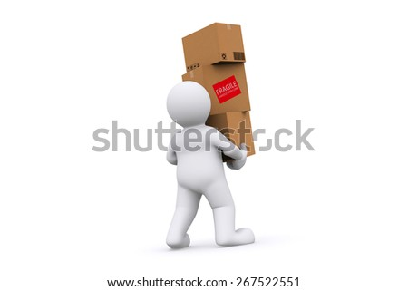 White man holding cardboard box with clipping path. Cargo, delivery and transportation logistics storage. - stock photo