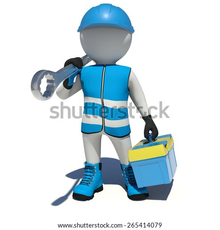White man in overalls holding tool box and wrench on his shoulder. Isolated render on white background - stock photo