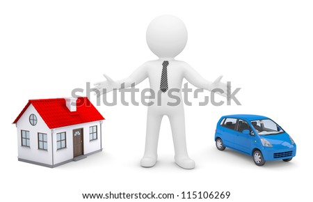 White man indicates his hands on the house and car. Isolated render on a white background