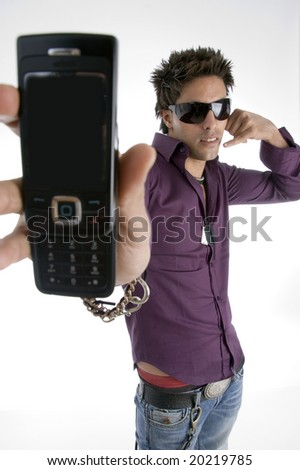white man showing cell phone on an isolated background - stock photo