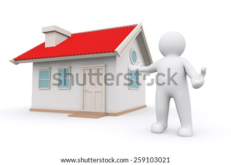 White man standing present house with clipping path. Real estate. - stock photo