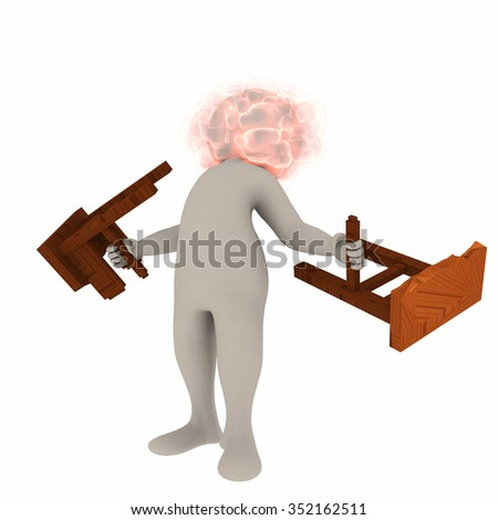 white man with exploding head that breaks burning furniture