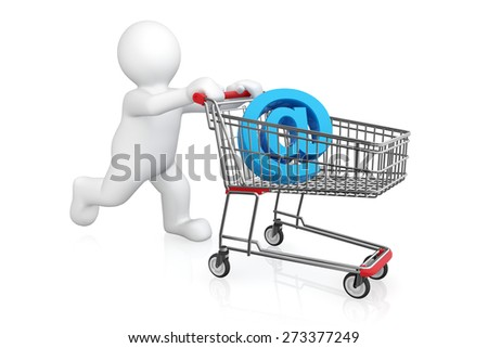 White man with shopping cart isolated on white with clipping path, online shopping concept. - stock photo