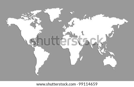 white map on gray background - stock photo