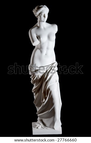 """White marble classic statue """"Aphrodite of Milos"""" isolated on black background - stock photo"""