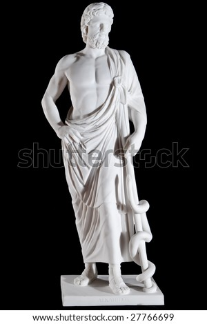 White marble classic statue of Asclepius isolated on black background - stock photo