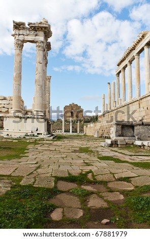 White Marble Columns of the Temple of Trajan in the Ancient Greek City of Pergamom, Now a Tourist Attraction in Turkey - stock photo