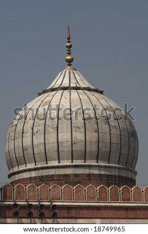 White marble dome of the Jama Masjid (Friday Mosque) in Old  Delhi, India - stock photo