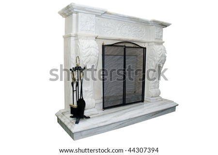 White marble fireplace with accessory - stock photo