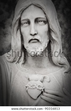 White marble head of Jesus Christ - stock photo