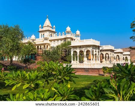 White Marble Memorial in Jodhpur, Rajasthan, India - stock photo