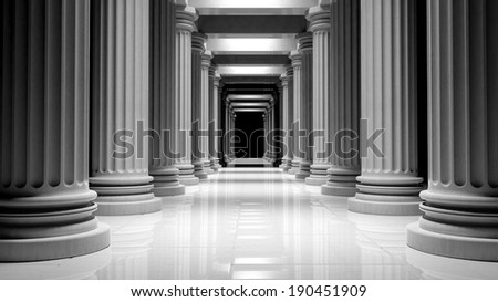 White marble pillars in a row inside a building  - stock photo
