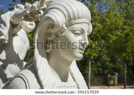 White Marble Sculptures In The Gardens Of Segovia, Spain. Beautiful Figures  Of Classical Gods