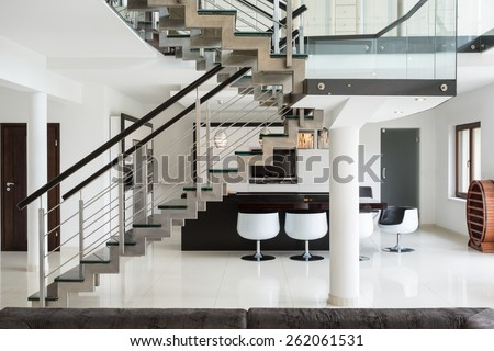 White marble stairs on the first floor in luxury apartment - stock photo