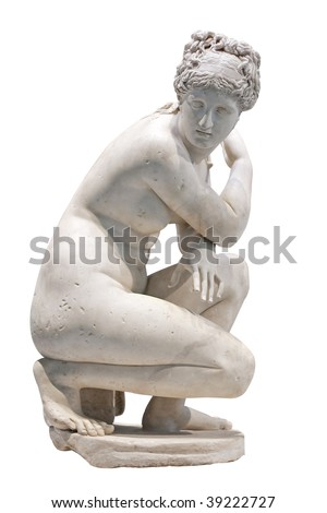 White marble statue of a nude woman - stock photo