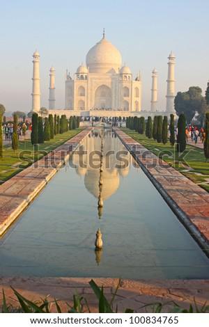 White marble Taj Mahal in India, Agra, Uttar Pradesh - stock photo
