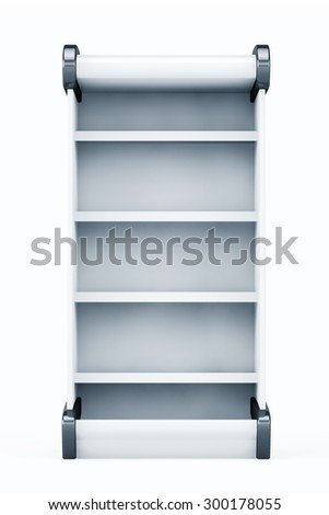 White Market Rack Shelves Showing Products on a white background - stock photo