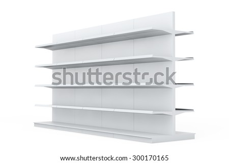 White Market Racks Shelves Showing Products on a white background - stock photo