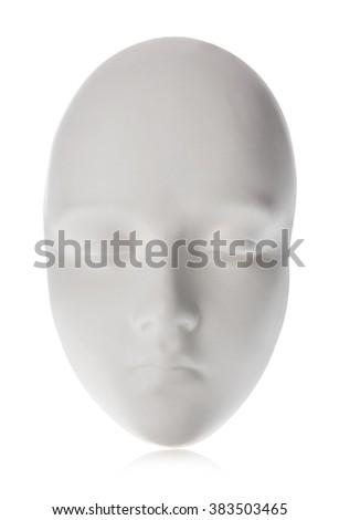 White mask close-up isolated on white background. - stock photo