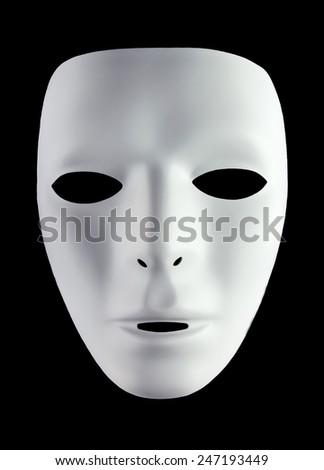 White mask for drama isolated on black background - stock photo