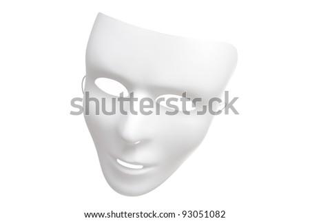 White Mask Isolated on a White Background - stock photo