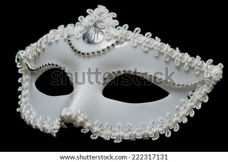 White mask on a black background - stock photo