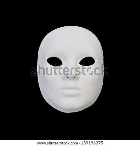 White mask with blank expression on black background. - stock photo