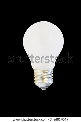 white matte light bulb, isolated on black background
