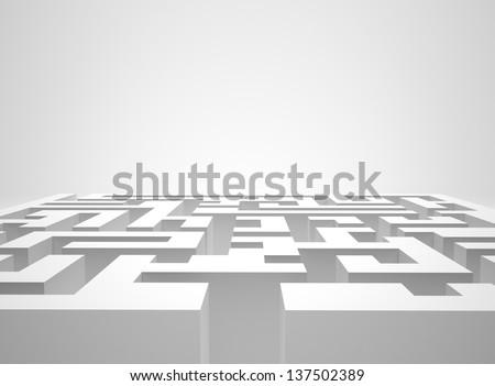 White maze - stock photo
