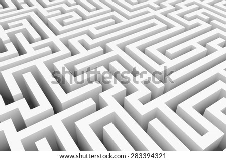 White maze, complex way to find exit, business concept.