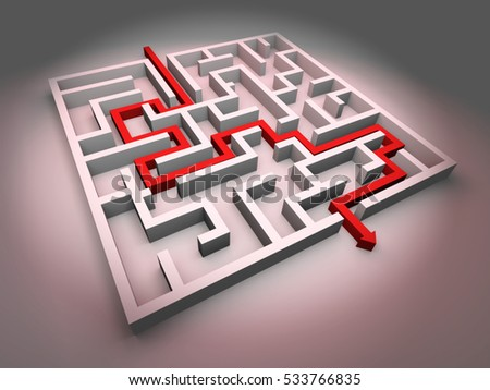 white maze structure with red arrow showing the path through the maze (3d illustration)