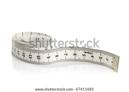 White measurement tape on white background - stock photo