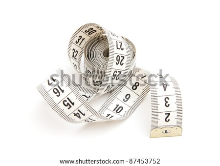 White measuring tape isolated on white background