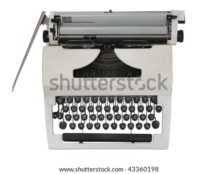 white mechanical typewriter on a white background. The top view