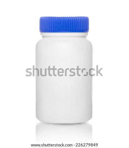 White medical bottle, isolated on white background - stock photo