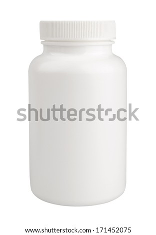 White medical container isolated on white background with clipping path