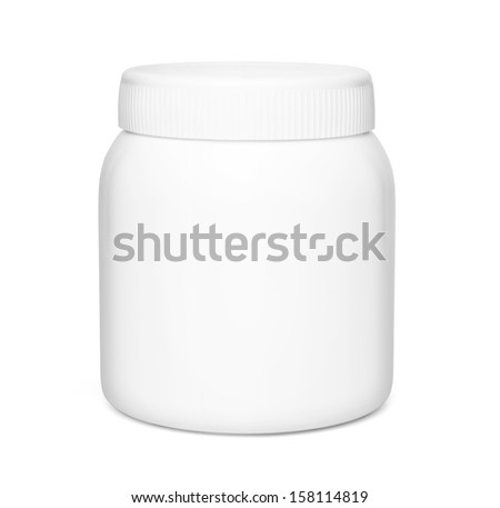 White medical container on white background. - stock photo