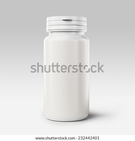 White medical container on white limbo background  - stock photo
