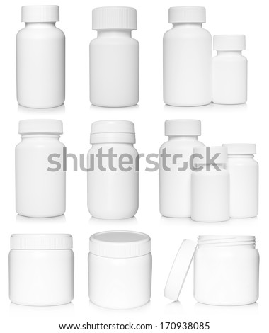 White medical containers set on white background   - stock photo
