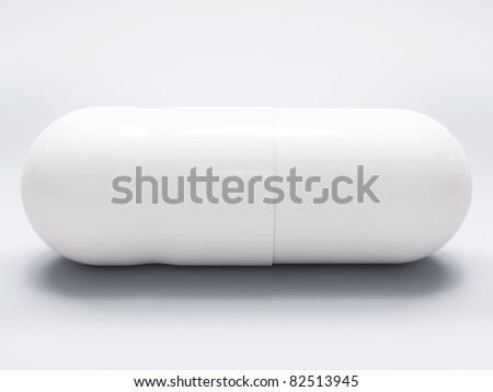 White medical pill on white background, with shadow, closeup - stock photo