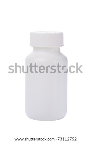white medicine bottle isolated white - stock photo