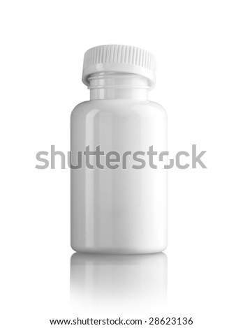White medicine bottle with the cap not tighten over it - stock photo