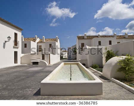 White mediterranean town, with a beautiful blue sky