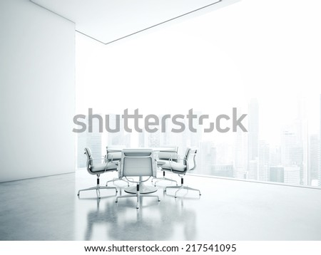 White meeting room with panoramic window - stock photo
