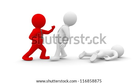 White Men fight with Red People. Isolated render on a white background - stock photo