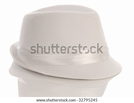 white mens dress hat with reflection on white background - stock photo